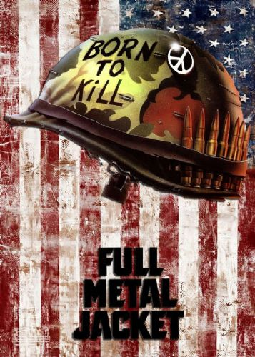 1980's Movie - FULL METAL JACKET - USA FLAG DISTRESSED / canvas print - self adhesive poster - photo